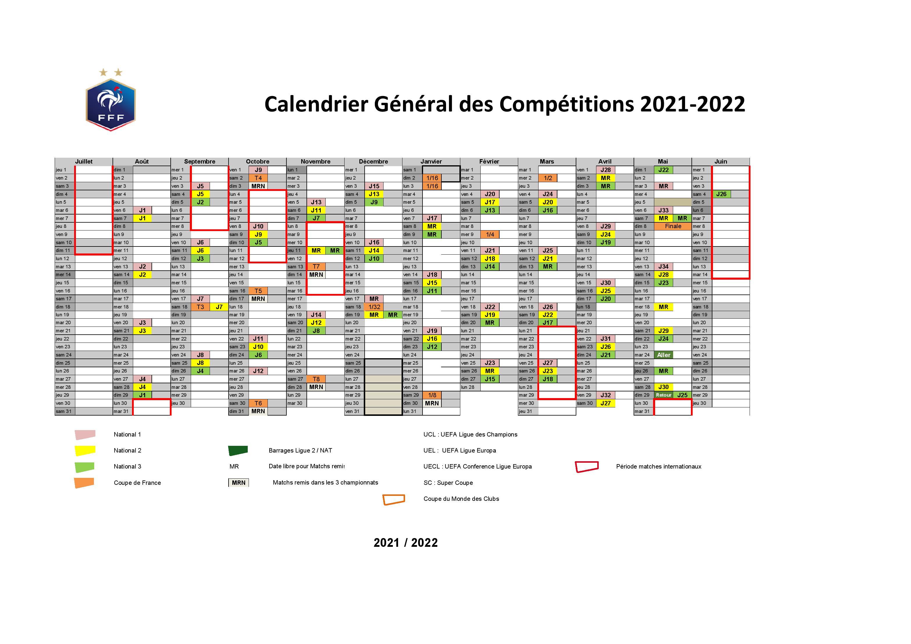 Calendrier Football 2022 CALENDRIER DES CHAMPIONNATS SENIORS 2021 2022 – LIGUE DE FOOTBALL